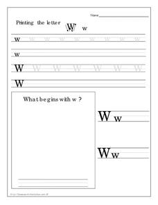 Printing the Letter Ww Worksheet
