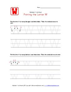 Printing the Letter W Worksheet