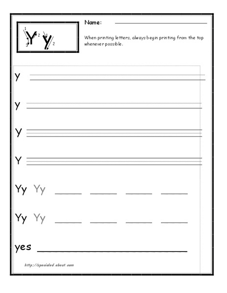 Printing the Letter Y Worksheet