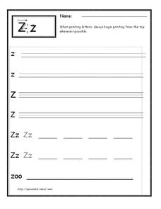 Printing the Letter Z Worksheet