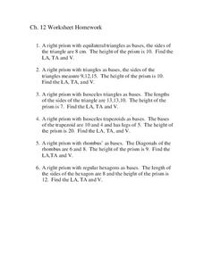 Prisms Worksheet