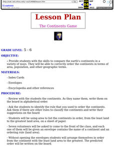 The Continents Game Lesson Plan