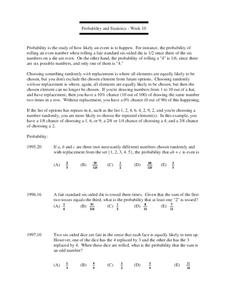 Probability and Statistics Lesson Plan