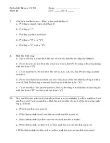 Probability Review Worksheet