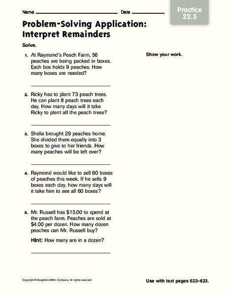 Interpreting Remainders Lesson Plans Worksheets