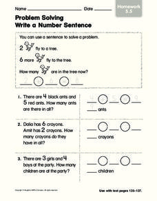Problem Solving Write a Number Sentence Worksheet