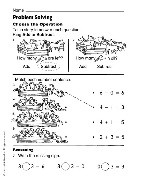Problem Solving: Choose the Operation Worksheet