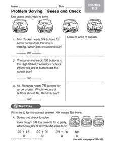 Problem Solving: Guess and Check Worksheet