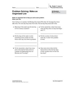 Problem Solving: Make an Organized List Worksheet