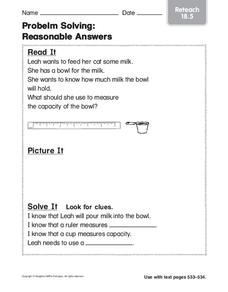 Problem Solving: Reasonable Answers Worksheet