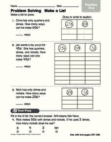 Problem Solving: Make a List Worksheet