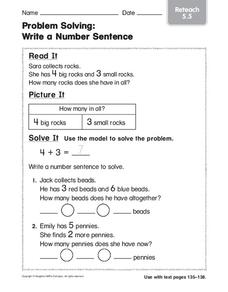 Problem Solving: Write a Number Sentence Worksheet