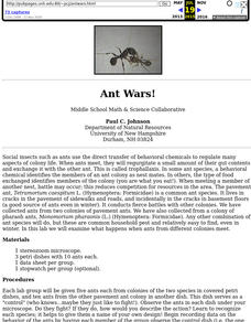 Ant Wars Lesson Plan