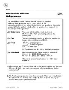 Problem-Solving Application: Using Money Worksheet