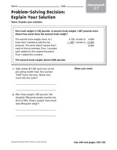 Problem-Solving Decision: Explain Your Solution Worksheet