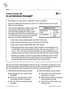 Problem-Solving Skill: Is an Estimate Enough? Worksheet