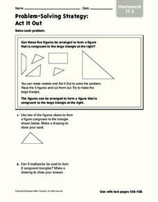 Problem-Solving Strategy: Act it Out Worksheet