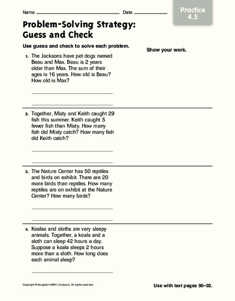 Math Guess And Check Lesson Plans Worksheets Reviewed By Teachers