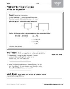 Problem-Solving Strategy: Write an Equation Worksheet