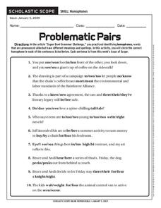 Problematic Pairs Worksheet