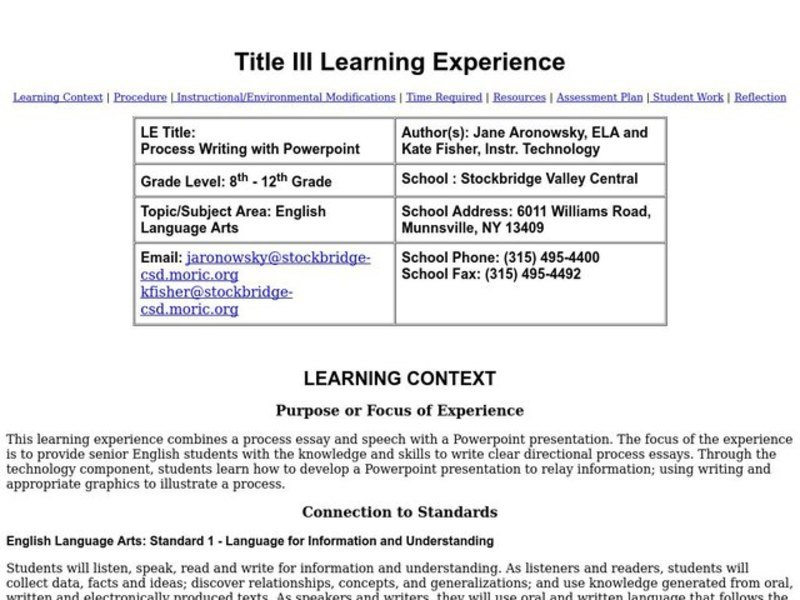 Process Writing with Powerpoint Lesson Plan