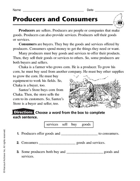 Producers And Consumers Worksheet For 2nd 4th Grade