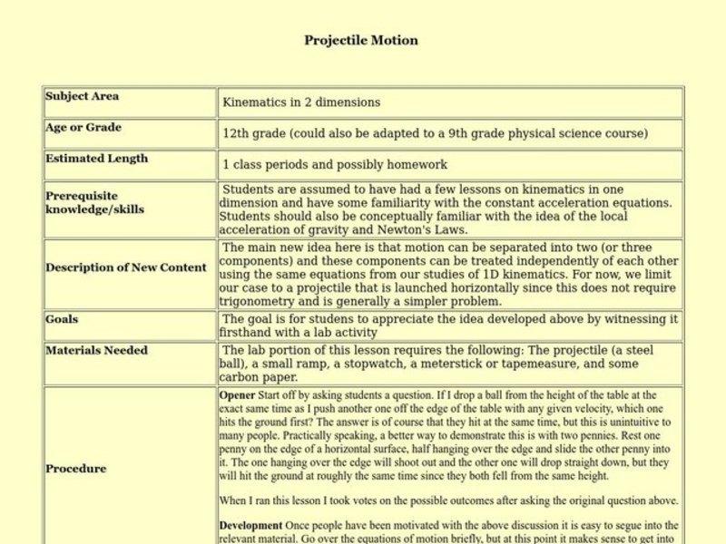Projectile Motion Lesson Plans Worksheets Lesson Planet