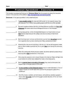 Pronoun Agreement Worksheet