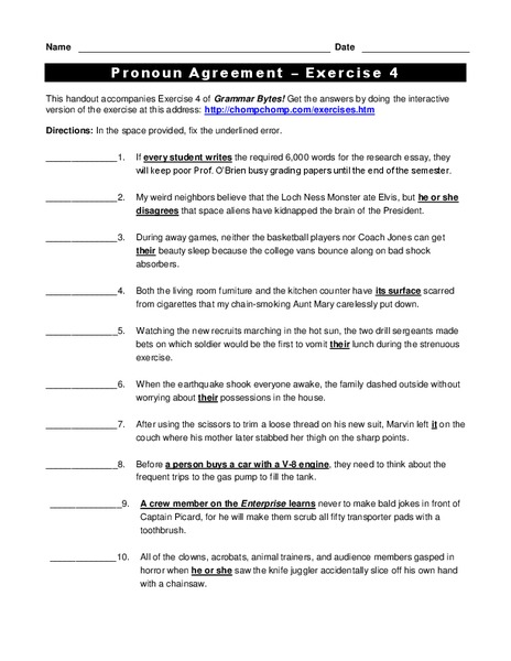 Pronoun Agreement Worksheet For 5th 6th Grade Lesson