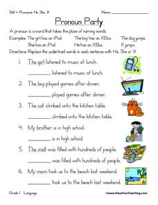 Pronoun Party Worksheet