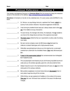 Pronoun Reference Worksheet