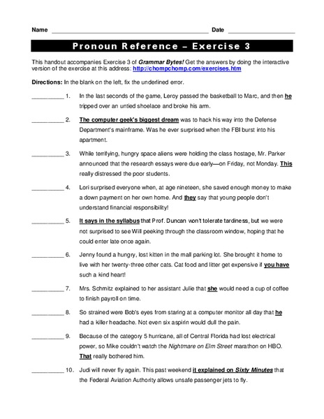 Pronoun Reference Worksheet For 4th 5th Grade Lesson