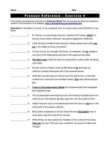 Pronouns and Antecedents | Pronoun Agreement Worksheet