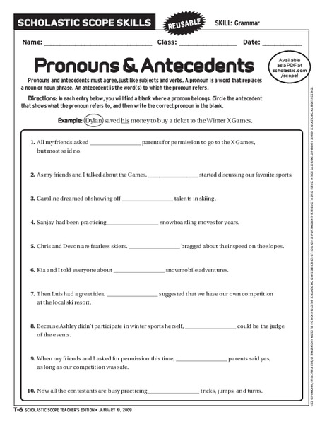 Pronouns And Antecedents Worksheet For 6th 9th Grade
