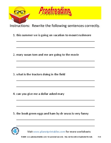 Proofreading Worksheet For 2nd 5th Grade Lesson Planet