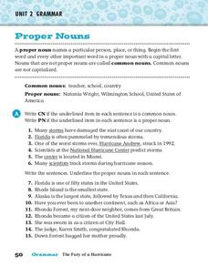 Proper Nouns and Common Nouns Worksheet