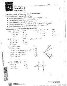 Properties of Equality Worksheet