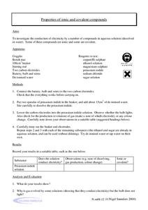Properties of Ionic and Covalent Compounds Worksheet
