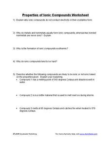 Properties of Ionic Compounds Worksheet