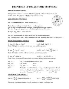 Properties of Logarithmic Functions 9th - 12th Grade Worksheet ...
