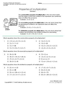 Properties of Multiplication Worksheet