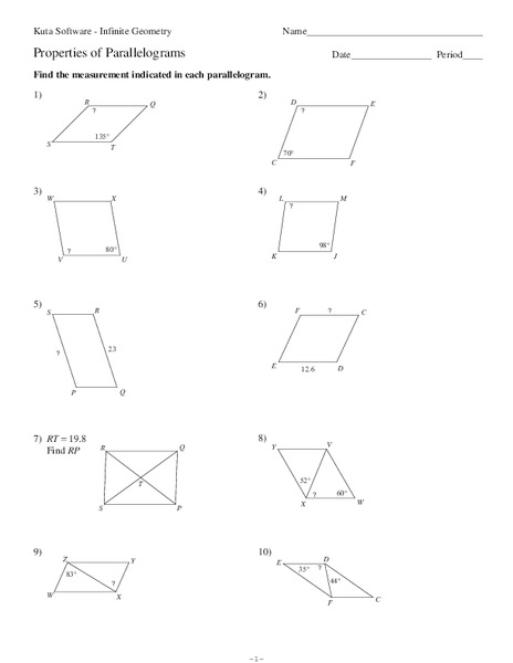 Properties of Parallelograms Worksheet for 10th Grade