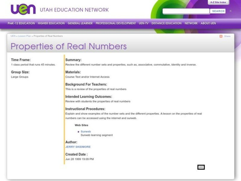 Properties of Real Numbers Lesson Plan