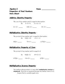 Properties of Real Numbers Worksheet