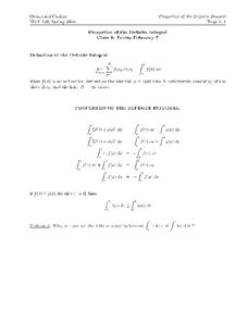 Properties of the Definite Integral Worksheet