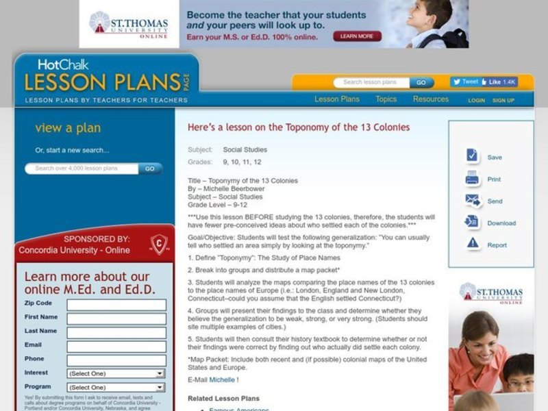 Toponomy of the 13 Colonies Lesson Plan