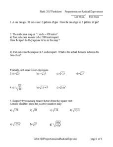 Proportions and Radical Expressions Worksheet