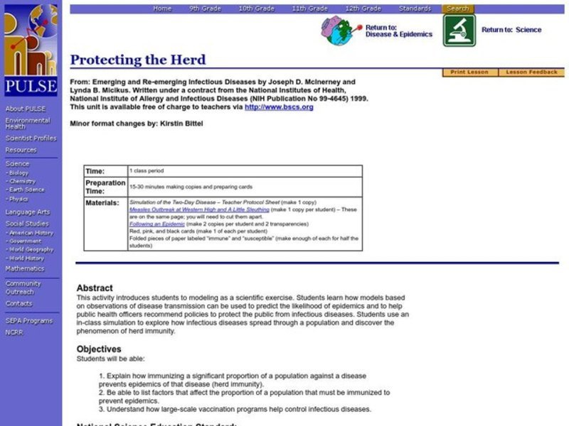 Protecting the Herd Lesson Plan for 9th - 12th Grade