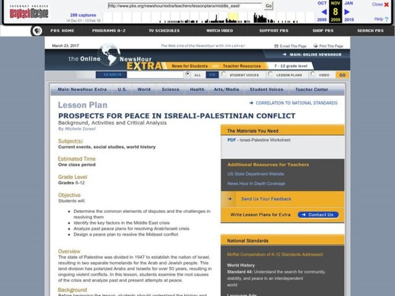 Prospects for peace in the Israeli-Palestinian Conflict Lesson Plan