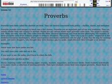 Proverbs Lesson Plan